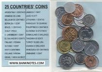 25 different coins set (25 countries) UNC