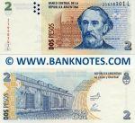 Argentina 2 Pesos (2002) (378388xxL) UNC