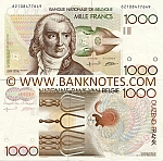Belgium 1000 Francs (1980-96) (Sig: Dasin & de Strijcker) (50602561108) (circulated) VF