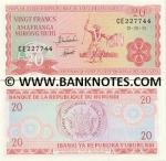 Burundi 20 Francs 1997 (CU1608xx) UNC