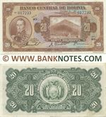 Bolivia 20 Bolivianos L.1928 (K3/056621) (circulated) VF-XF