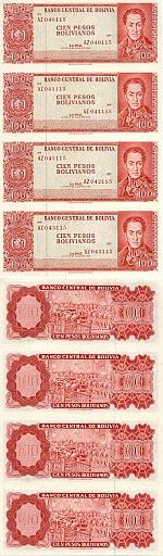 Bolivia Uncut sheet of 4 x 100 Pesos Bolivianos 1962 (AZ040117) UNC