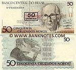 Brazil 50 Cruzeiros on 50 Cruzados Novos (1990) (A36470345xxA) UNC