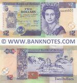 Belize 2 Dollars 1.1.2017 (DQ6955xx) UNC