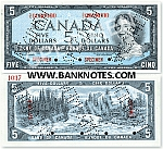 Canada 5 Dollars 1954 (A/C8156924) (circulated) VF