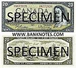Canada 20 Dollars 1954 (1961-70) (G/W5636912) aAU
