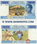 Gabon 1000 Francs 2002 (A 3923399xx) UNC