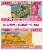 Gabon 2000 Francs 2002 (A 2691187xx) UNC