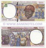 Chad 5000 Francs 1999 (P 9924916120) UNC