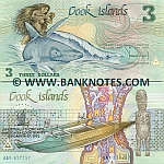 Cook Islands 3 Dollars (1987) O/P (AAR 0164xx) UNC