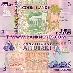 Cook Islands 3 Dollars (1992) (AAA 3825xx) UNC