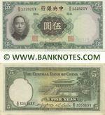 China 5 Yuan 1936 (D/X 122820V) AU