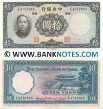 China 10 Yuan 1936 (E/T 670298X) (lightly circulated) XF-AU