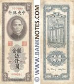 China 5000 C.G.U. 1947 (520580) (sts) (lt. circulated) XF