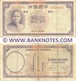 China 5 Yuan 1937 (BH341317) (2 pch, edge cnks) AU