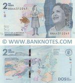 Colombia 2000 Pesos 19.8.2015 (A443122xx) UNC