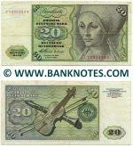 Germany 20 Mark 2.1.1960 NO FIBRES (H2106211L) (circulated) F-VF