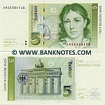 Germany 5 Deutsche Mark 1991 (A92638xxUx) UNC
