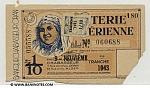 Algeria Lottery ticket 1943. Serial # 055588/060688 (used)