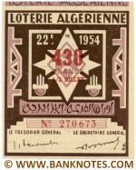 Algeria lottery 1/2 ticket 430 Francs 1954 Serial # 270673 UNC