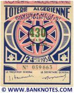 Algeria lottery 1/2 ticket 430 Francs 1954 Serial # 059663 AU