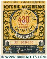 Algeria lottery 1/2 ticket 430 Francs 1951 Serial # 048056 UNC