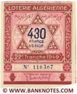Algeria lottery 1/2 ticket 430 Francs 1949 Serial # 116367 XF