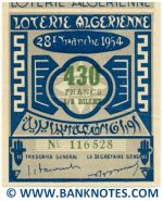 Algeria lottery 1/2 ticket 430 Francs 1954 Serial # 116528 XF