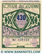 Algeria lottery 1/2 ticket 430 Francs 1955 Serial # 059757 XF