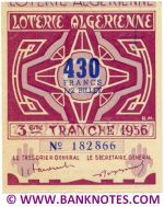 Algeria lottery 1/2 ticket 430 Francs 1956 Serial # 182866 AU
