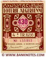 Algeria lottery 1/2 ticket 430 Francs 1956 Serial # 133542 AU-UNC
