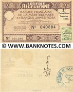 Algeria Lottery ticket Banque Française de la Méditerranée 1/10-me 1946 (Nº 040884) (used) VF-XF