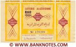 Algeria Lottery ticket 860 Francs 1959. Serial # 179299 XF