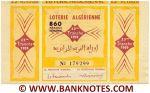 Algeria Lottery ticket 860 Francs 1959. Serial # 179299 XF