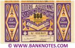 Algeria Lottery ticket 860 Francs 1954. Serial # 035869 (nice) XF