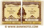 Algeria composite lottery ticket 200 Francs 1945. Serial # 048414 & 151644 AU