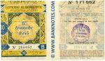 Algeria lottery half-ticket 90 Francs 1945. Serial # 245032 UNC