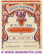 Algeria lottery 1/2 ticket 430 Francs 1956 Serial # 116720 XF