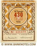 Algeria lottery 1/2 ticket 430 Francs 1956 Serial # 224679 AU