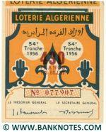 Algeria lottery 1/2 ticket 430 Francs 1956 Serial # 077907 UNC