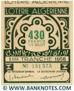 Algeria lottery 1/2 ticket 430 Francs 1956 Serial # 151373 UNC