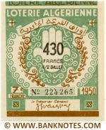 Algeria lottery 1/2 ticket 430 Francs 1950 Serial # 224265 UNC