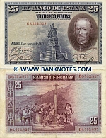 Spain 25 Pesetas 15.8.1928 (D8,548,632) (circulated) VF