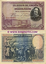 Spain 50 Pesetas 1928 (circulated) VF+