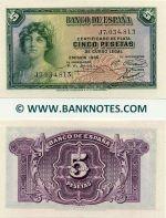 Spain 5 Pesetas 1935 UNC