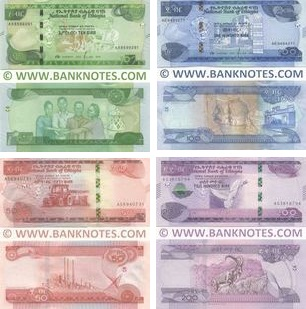 Ethiopia Set of 10, 50, 100, 200 Birr 2020 UNC