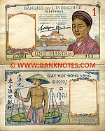 French Indo-China 1 Piastre (1936) (L.4946/123635667) (circulated) VF