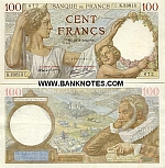 France 100 Francs 23.5.1940 (C.11340/283477831) (circulated) VF-XF
