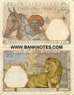 French West Africa 25 Francs 1936 (K.348/08684602) (circulated) VF