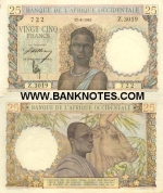 French West Africa 25 Francs 17.8.1943 (Z.3019/727) (lt. circulated) XF
